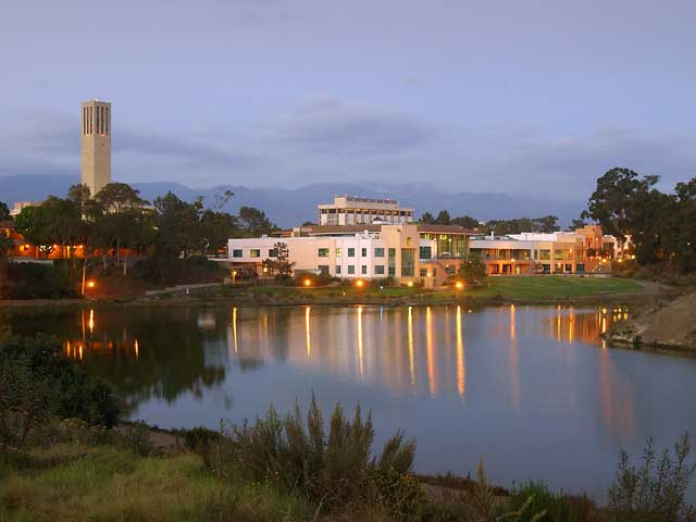 A view across the Lagoon of the University Center, housing the main playing area